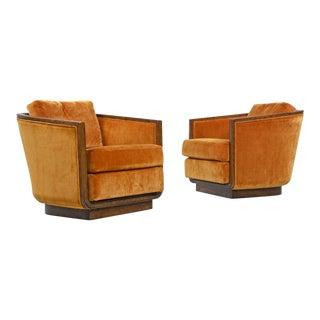 Original Drexel Heritage Persimmon Sunset Velvet Club Chair Set, Circa 1970s For Sale