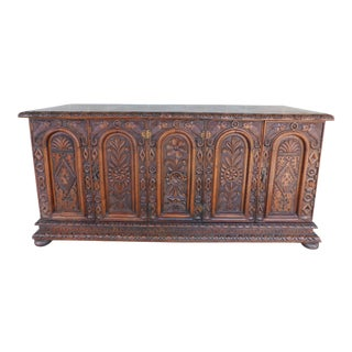 "Antique English Victorian Period Gothic Revival Style Carved Oak Sideboard 80""w For Sale"
