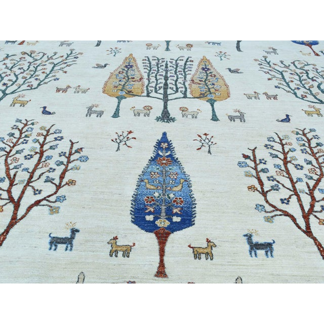 Hand-Knotted Wool Tree Design Peshawar Rug- 12′3″ × 15′6″ For Sale - Image 9 of 13