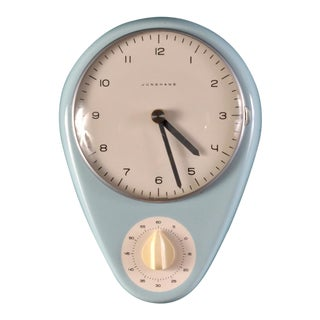 Robin's Egg Blue Wall Clock by Max Bill For Sale