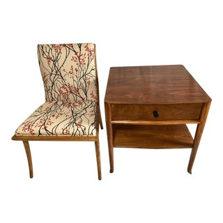 Vintage Mid Century t.h. Robsjohn Gibbings End Table and Chair For Sale