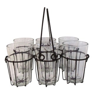 Mid-Century French Country Glasses With Caddy - Set of 7 For Sale