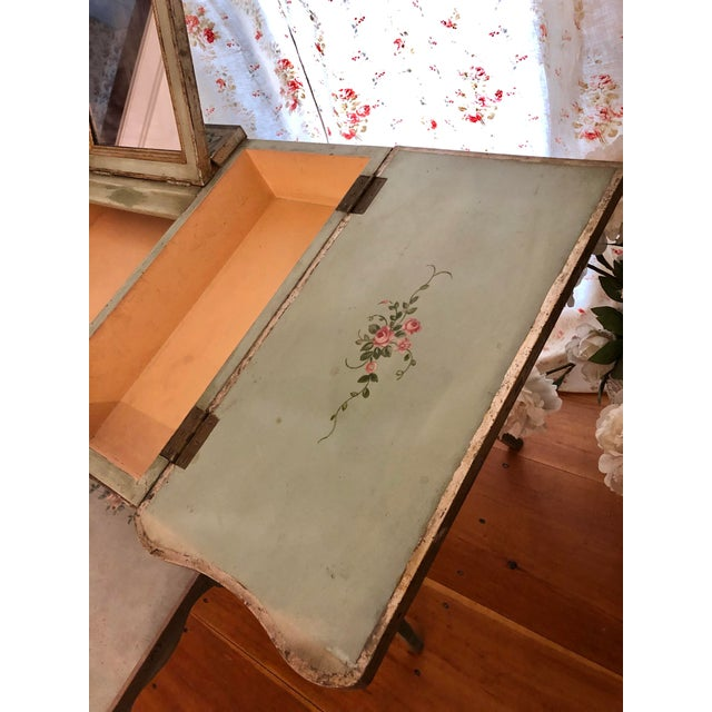 1920s Antique Hand Painted French Vanity With Bench-a Pair For Sale - Image 4 of 13