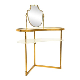 Mid Century Modern Italian Brass Adjustable Vanity For Sale