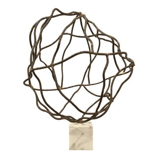 Mid-Century Modern Abstract Brutalist Brass, Steel, and Marble Sculpture For Sale