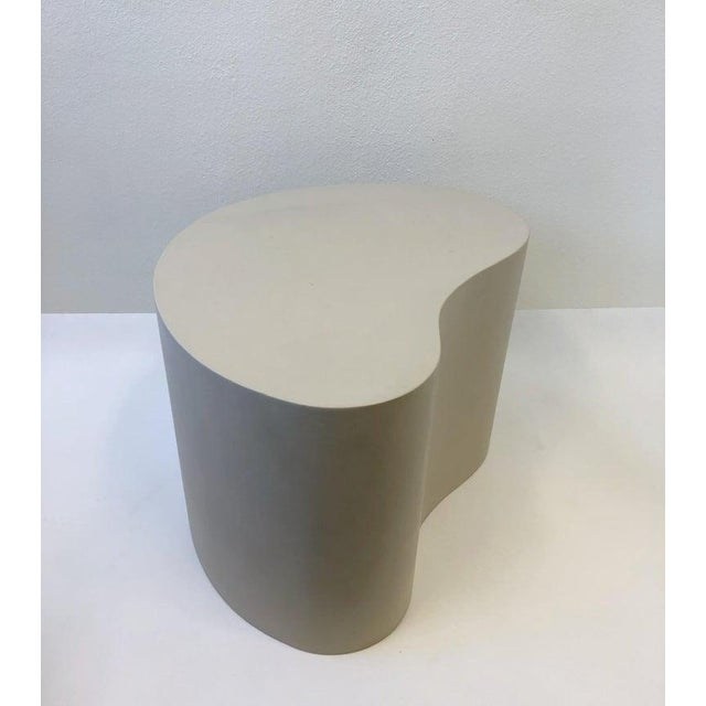 Contemporary Leather Kidney Shape Side Table by Karl Springer For Sale - Image 3 of 10