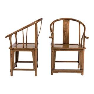 Mid-Century Modern Elm & Mahogany Yoke Back Chairs - a Pair