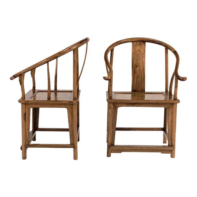 Mid-Century Modern Elm & Mahogany Yoke Back Chairs - a Pair For Sale