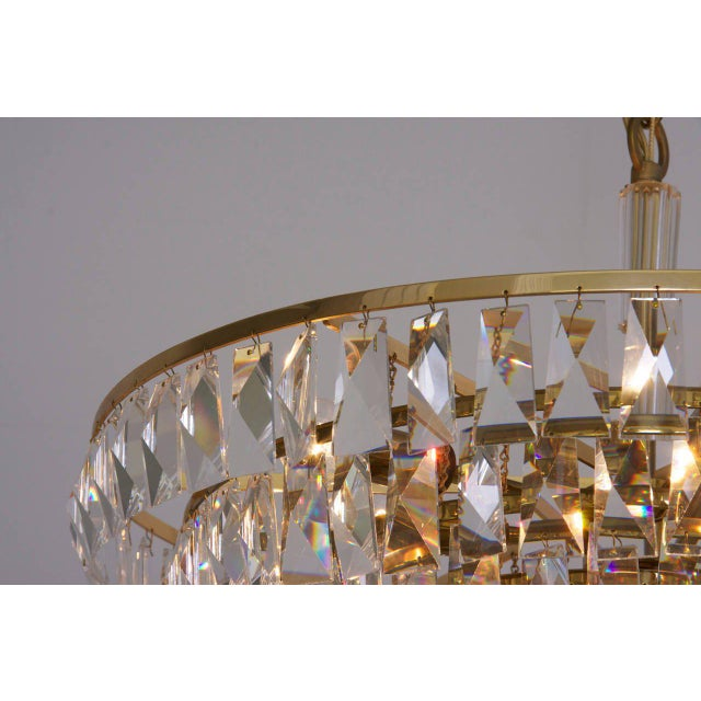 Brass Extraordinary Huge Palwa Gilded Brass and Crystal Glass Chandelier For Sale - Image 7 of 8
