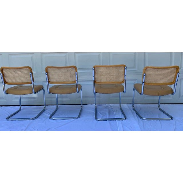 Tan 1980s Bauhaus Wicker and Chrome Dining Set - 5 Pieces For Sale - Image 8 of 13