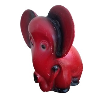 1940s Vintage Red Chalkware Carnival Elephant Figurine