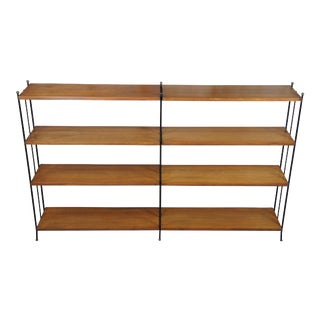 Vintage Industrial Iron & Walnut Bookcase Library Shelf For Sale