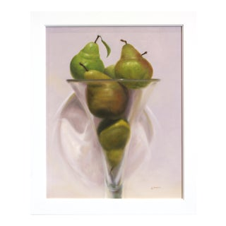 """21st Century """"Pears in Violet"""" Original Painting by Stuart Dunkel For Sale"""