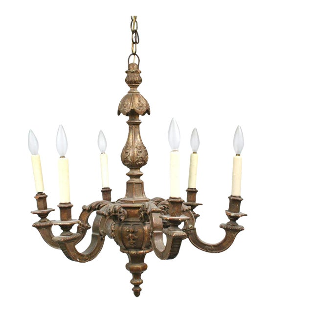 19th Century Carved Gilt Wood Chandelier For Sale