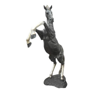 Massive Bronze Horse Statue on Its Hind Legs For Sale