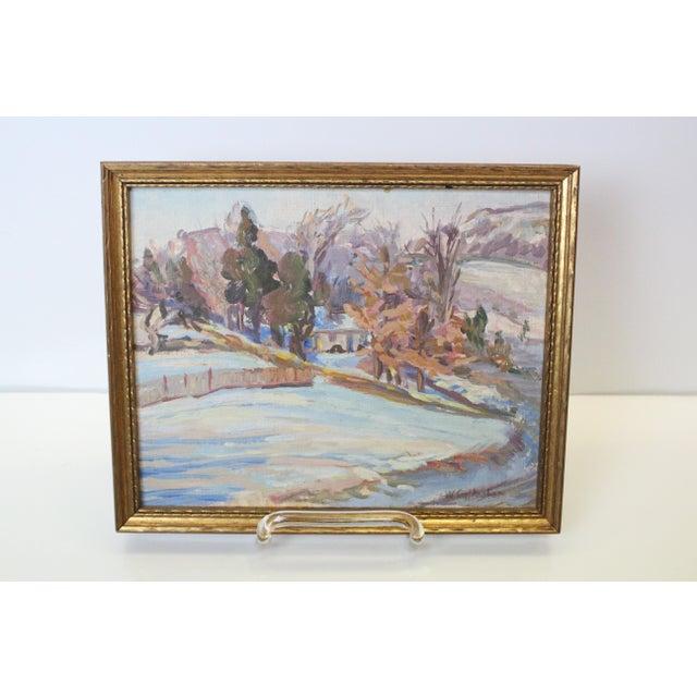 Delicate impressionist winter landscape signed Gallagher. In gilt frame.