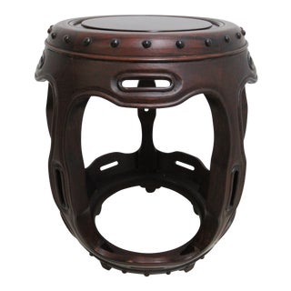 Vintage Chinese Chippendale Rosewood Barrel Drum Lamp End Table