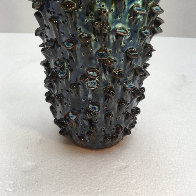 Abstract Abstract Sapphire Blue Textured Pottery Vase For Sale - Image 3 of 7