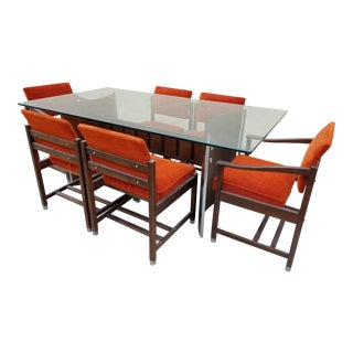 Milo Baughman Style 1960s Mid Century Glass Top Curved Walnut Base Dining Set For Sale