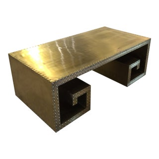 20th Century Mid Century Brass Stud Coffee Table For Sale