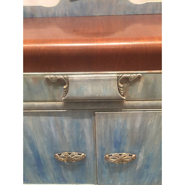 1930s Shabby Chic Distressed Blue Waterfall Sideboard For Sale In Philadelphia - Image 6 of 7