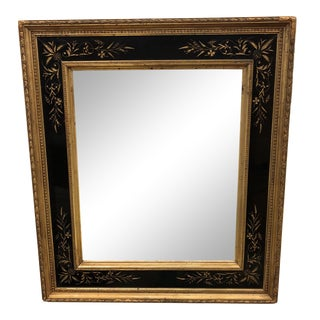 1930's Tradiitonal Black and Gold Carved Mirror
