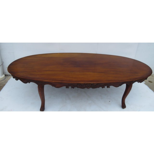 Carved Mahogany Oval Conference Table Chairish - Oval conference table for 6