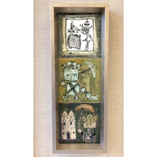 Silver Pair of Italian Studio Ceramic Tiles by Bruno Capacci For Sale - Image 8 of 9