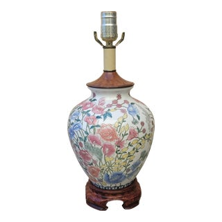 Vintage 1980s Chinoiserie Ceramic Floral Ginger Jar Lamp With Burled Wood Accents For Sale