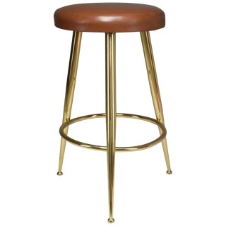 Italian Midcentury Brass and Leather Stool by Ico Parisi, 1950s For Sale