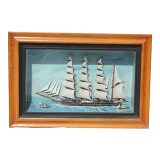 19th C. Antique American Sailing Ship Painting For Sale