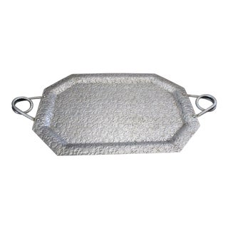 Vintage Mid Century Hand Hammered Aluminum Serving Tray For Sale