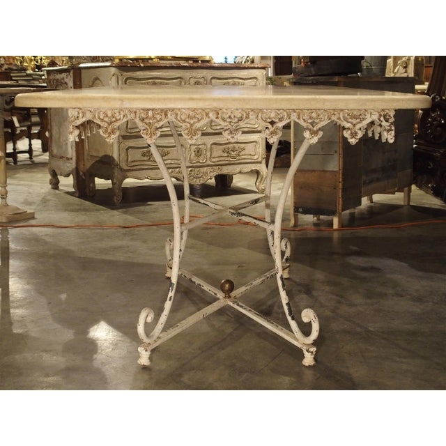 White Large Antique French Iron and Marble Butcher Display Table, Circa 1915 For Sale - Image 8 of 11