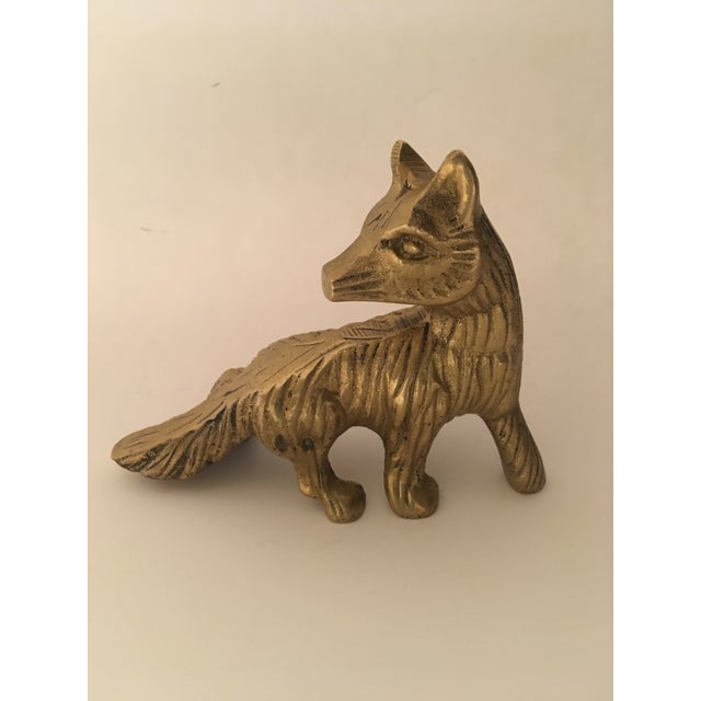 Vintage Solid Brass Fox Paperweight For Sale In Chicago - Image 6 of 6