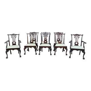 Set of 8 Stickley Ball & Claw Chippendale Mahogany Dining Room Chairs For Sale