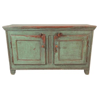 French Canadian Green Painted Country Side Cabinet For Sale