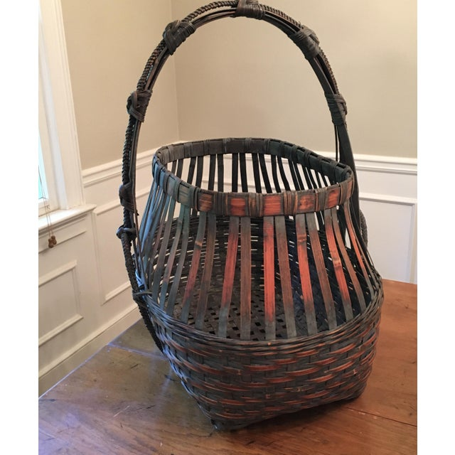 Monumental Bamboo Basket Asian Ikebana For Sale - Image 4 of 8