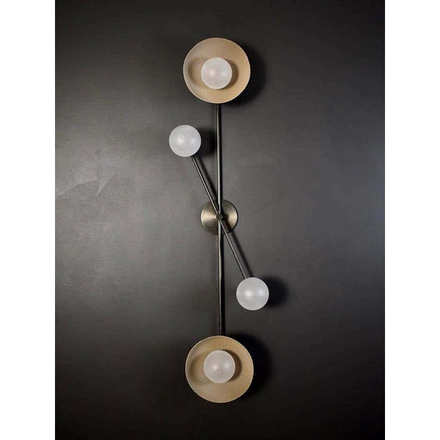 Bronze Division Wall Sconce or Flushmount in Oil-Rubbed Bronze, Mesh & Blown Glass For Sale - Image 8 of 8