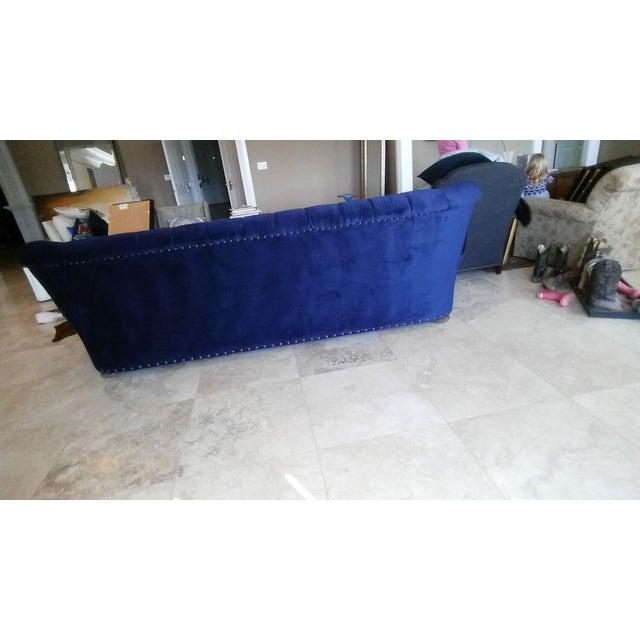 Restoration Hardware Churchill Blue Velvet Sofa - Image 5 of 7