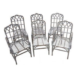 1970s Vintage McGuire Cathedral Dining Chairs- 6 Pieces For Sale