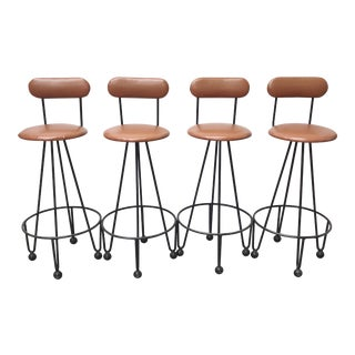 Vintage Mid-Century Frederick Weinberg Style Iron Hairpin Bar Stools- Set of 4 For Sale