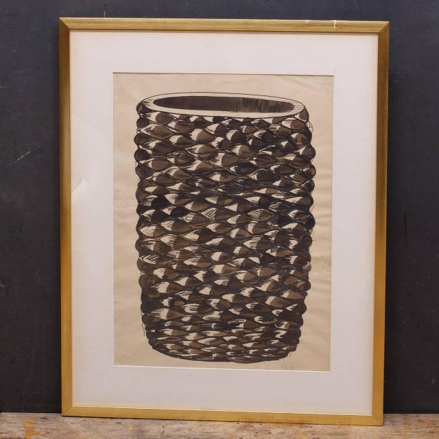 Vase image size: W 13.5 x H 21 in. Frame size: W 25 x H 31 in. As found condition, never removed from frame.