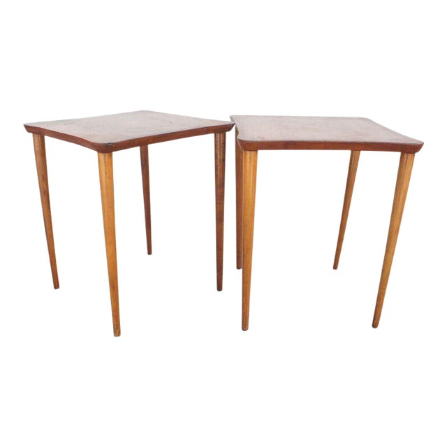 Vintage Oak Occasional Tables- A Pair For Sale