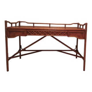 1970s Asian Chinoiserie Brown Jordan Rattan and Walnut Writing Desk For Sale
