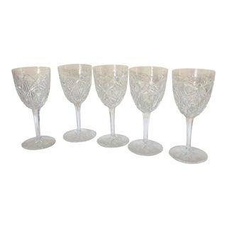 Vintage 1960s Baccarat Cut Crystal Wine Glasses - Set of 5 For Sale