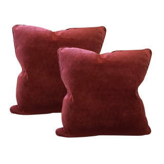 Modern Velvet Braided Trim Pillows- A Pair For Sale