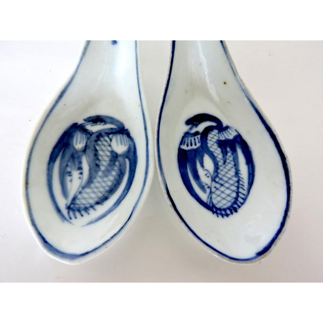 Vintage Blue & White Chinese Rice Spoons For Sale - Image 4 of 5