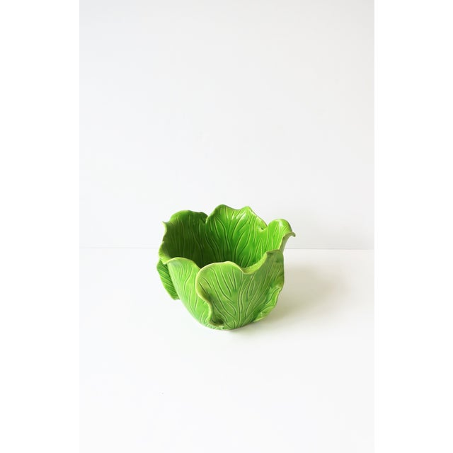 Ceramic French Green Lettuce or Cabbage Leaf Cachepot by Jean Roger, Paris, France For Sale - Image 7 of 13