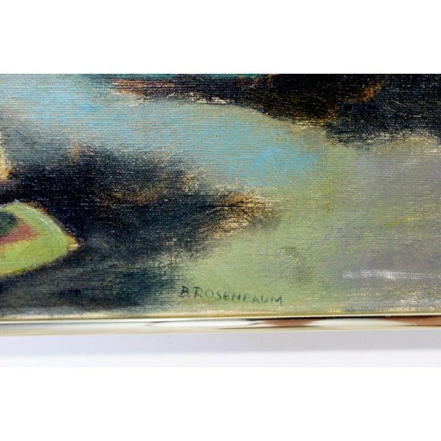 1970s Mid Century Modern Framed Impressionist Oil Canvas Painting Signed B. Rosenbaum For Sale - Image 5 of 7
