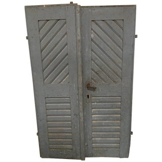 Pair of Antique French Painted Farm Doors For Sale